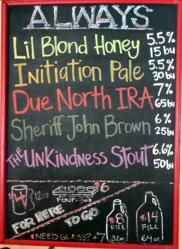 Bonsai Brewing Project's Chalk Board Beer Line up.